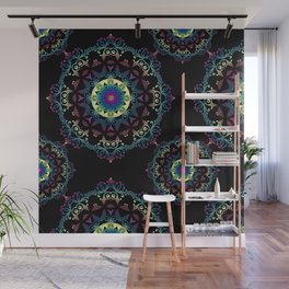 Abstract mandala-pattern on the black background Wall Mural