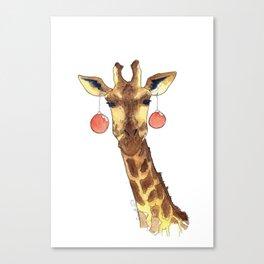 Girafe de Noël Canvas Print