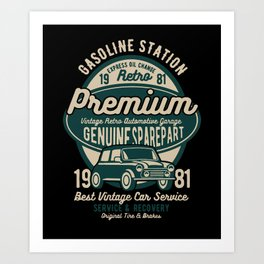 gasoline station premium Art Print