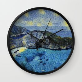 Zakynthos Starry Night Gogh Stars Basin Climber Pic Wall Clock