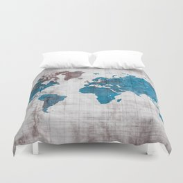 world map 96 blue #worldmap #map Duvet Cover