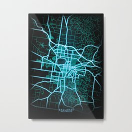 Ballarat, VIC, Australia, Blue, White, Neon, Glow, City, Map Metal Print