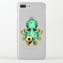 Cute Baby Octopus With Football Soccer Ball Clear iPhone Case