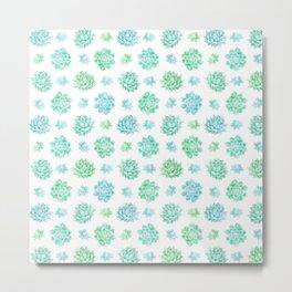 Trendy modern turquoise teal cute cactus pattern Metal Print