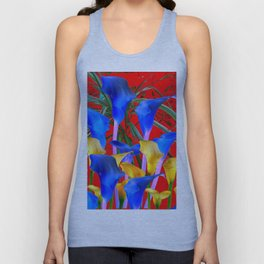 YELLOW & AZURE BLUE CALLA LILIES RED ART Unisex Tank Top