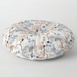 Japanese Garden Gray Floor Pillow