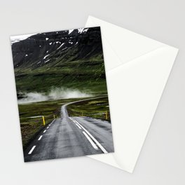 GREY CONCRETE ROAD GOING TROUGH MOUTAIN Stationery Cards