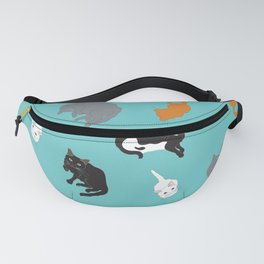 Kitty Cat Illustrated Repeat Pattern Illustration Fanny Pack