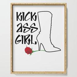 Kick Ass Girl Stiletto Boots Rose Grace Strength Serving Tray