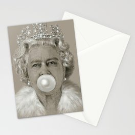 Queen Elizabeth II Blowing White Bubble Gum Stationery Cards