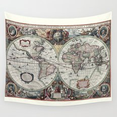 Antique World Map 1630 Wall Tapestry