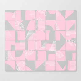 Blush and Gray Typographical Fragments Cheater Quilt Canvas Print