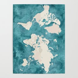 Teal watercolor and light brown world map Poster