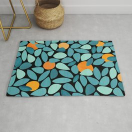 Orange Grove Woodblock Abstract Print Rug