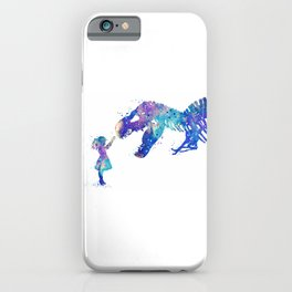 Girl and Dinosaur T-Rex Watercolor iPhone Case