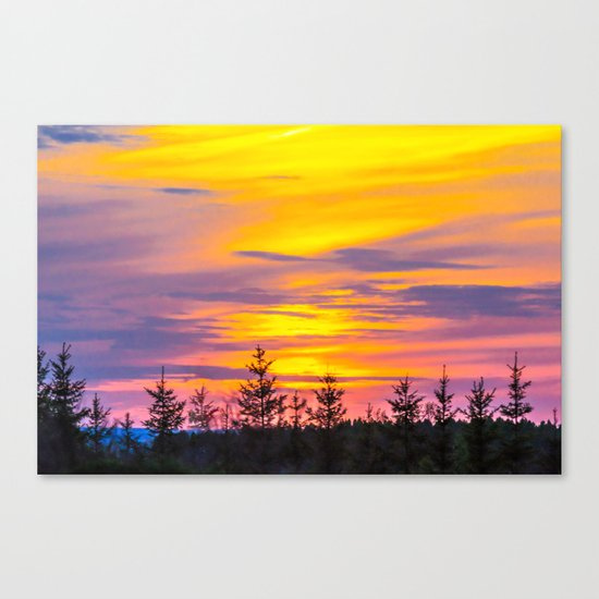 Sunset above the forest Canvas Print