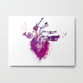 I love music red Metal Print