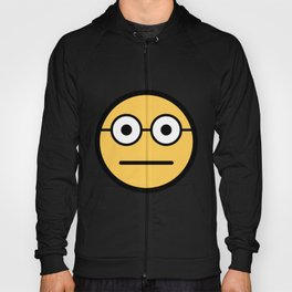 Smiley Face   Geeky Glasses Straight Face Hoody
