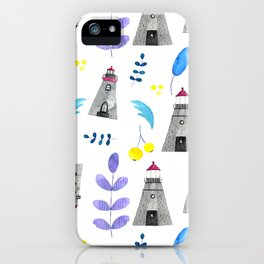 Romantic lighthouse pattern // flowers and lighthouse iPhone Case