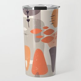 Mid Century Shapes Pattern Orange Travel Mug