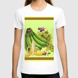 YELLOW-GREEN BANANAS GREEN GRAPES ART DESIGN T-shirt