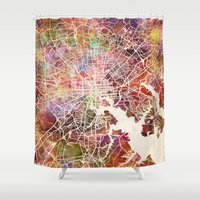 baltimore Shower Curtains featuring Baltimore map by MapMapMaps.Watercolors