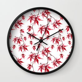 Watercolor Botanical Red Japanese Maple Leaves on Solid White Background Wall Clock