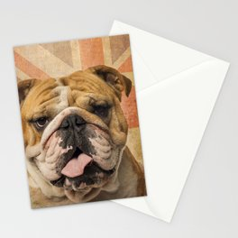 English Bulldog, Great Britain flag ! Stationery Cards