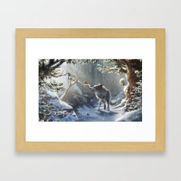 Friends: Wolf & Squirrel in Winter Framed Art Print