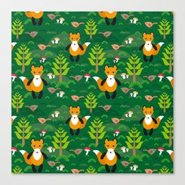 Fox and birds in the forest Canvas Print