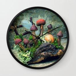Faery mushroom garden Wall Clock