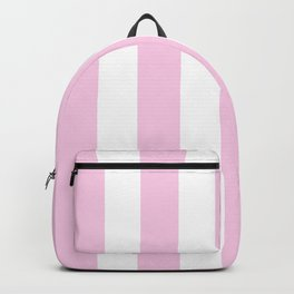 Classic rose pink - solid color - white vertical lines pattern Backpack