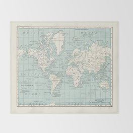 World Map in Blue and Cream Throw Blanket