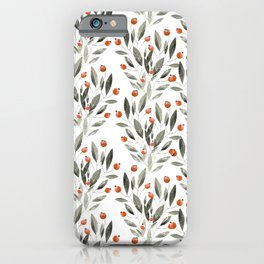 Trendy terracotta gray watercolor floral  iPhone Case