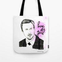 ryan gosling Tote Bags featuring Ryan Gosling by Mariam Tronchoni