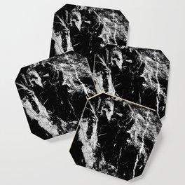 Dark marble black white stone1 Coaster