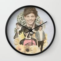 louis tomlinson Wall Clocks featuring Louis Tomlinson + Flowers  by Ladsandstuff