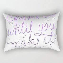Fake it Until You Make it - White Rectangular Pillow