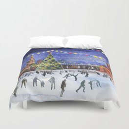Red square. Winter Moscow Duvet Cover