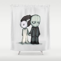 bride Shower Curtains featuring Frankie & Bride by Ludwig Van Bacon
