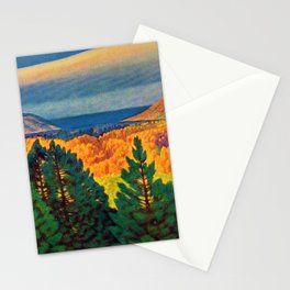 Across the Colorful Autumn Valley with Mountains by Rockwell Kent Stationery Cards