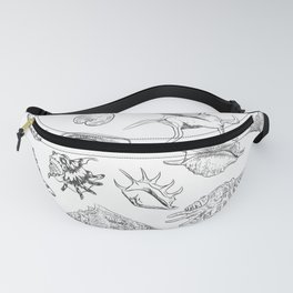 collection of sea shells, black contour on white background Fanny Pack