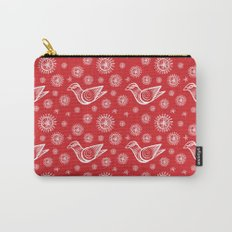 Holiday Bird with Snowflakes and Starbursts Carry-All Pouch