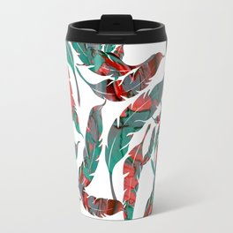 Green Red Feathers Travel Mug