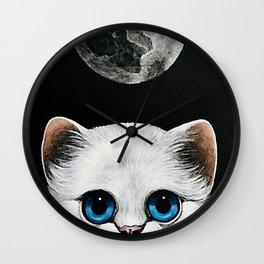 WHITE PERSIAN CAT & FULL MOON Wall Clock