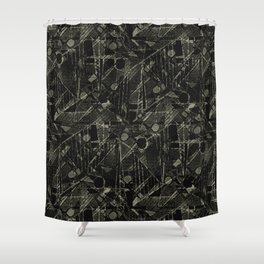 Abstract Collage Patchwork Pattern Shower Curtain