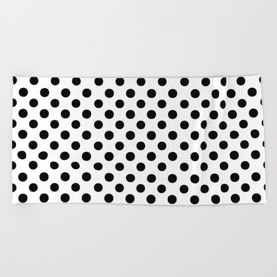 Polka Dots (Black/White) Beach Towel