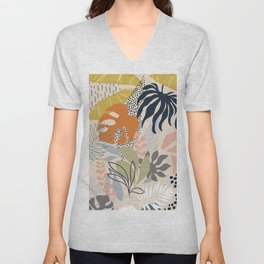 Tropical Foliage Pattern 1 - Retro Boho Unisex V-Neck