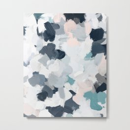 Navy Indigo Blue Blush Pink Gray Mint Abstract Air Clouds Art Sky Painting Metal Print