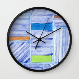Blue Panels with Colorful Inlays Wall Clock